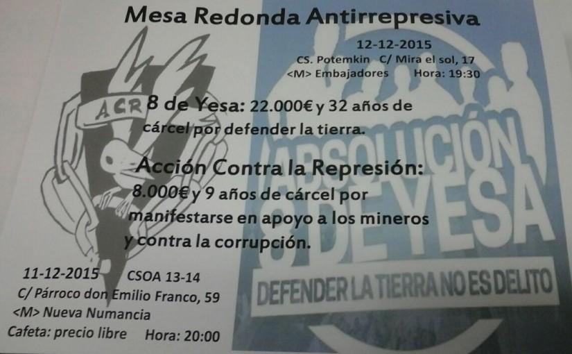 Mesa redonda antirrepresiva 11 y 12 de diciembre en Madrid
