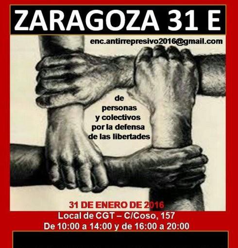 Encuentro estatal antirrepresivo en Zaragoza 31 Enero 2016